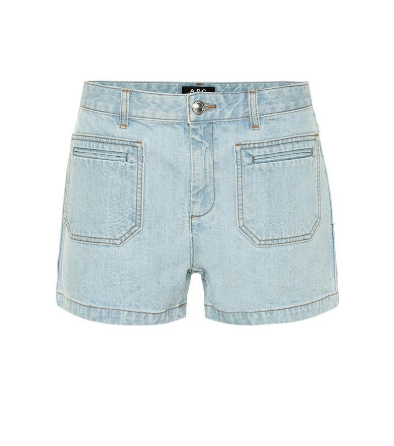 A.P.C. High-rise denim shorts in blue