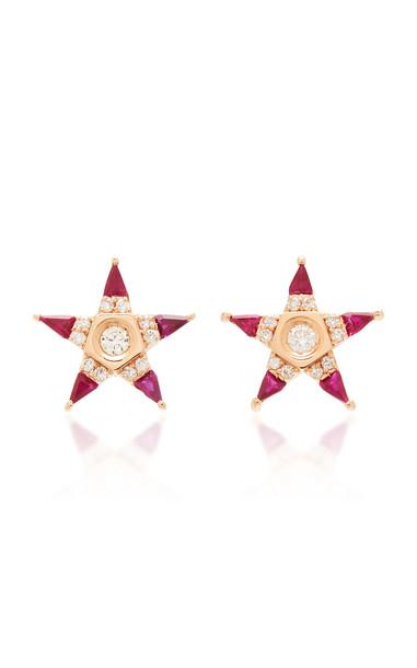 Melis Goral Mars 14K Rose Gold, Ruby And Diamond Earrings