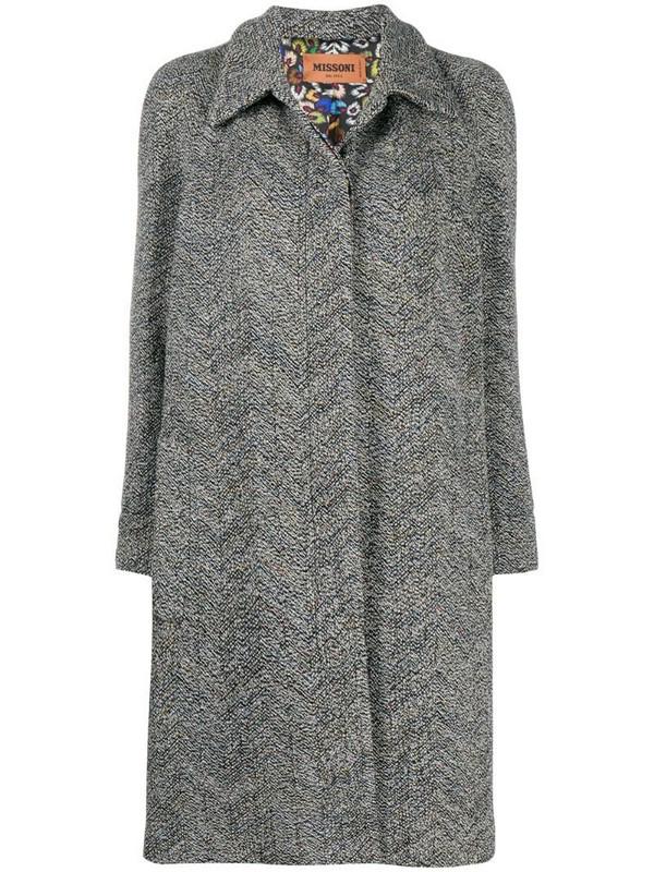 Missoni single breasted zigzag coat in black