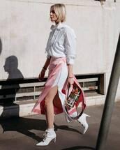 jacket,white jacket,white skirt,slit skirt,white boots,heel boots,ankle boots,bag,fendi,pink skirt
