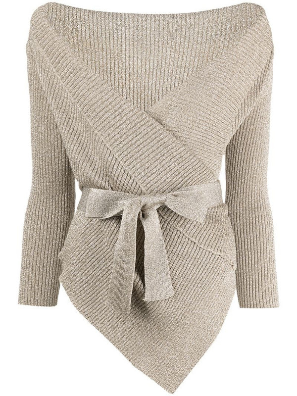 Charlott wrap-tie knitted cardigan in gold