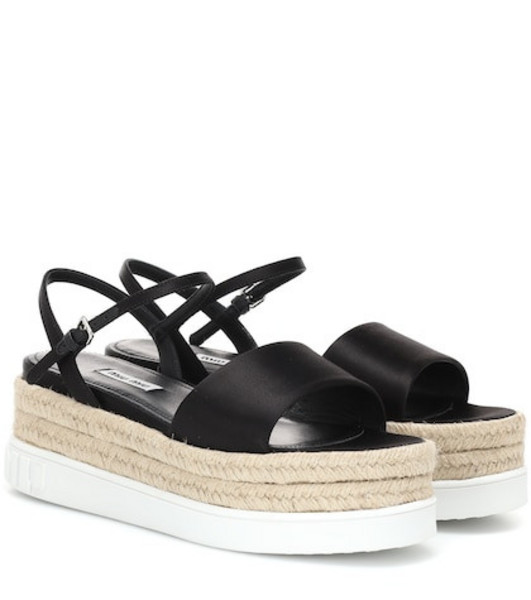 Miu Miu Satin platform sandals in black