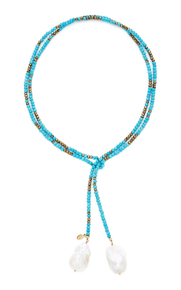 Joie DiGiovanni Gold-Filled, Turquoise, Pyrite and Pearl Necklace in blue