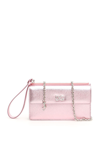 Dolce & Gabbana Phone Bag With Crystal Dg in pink