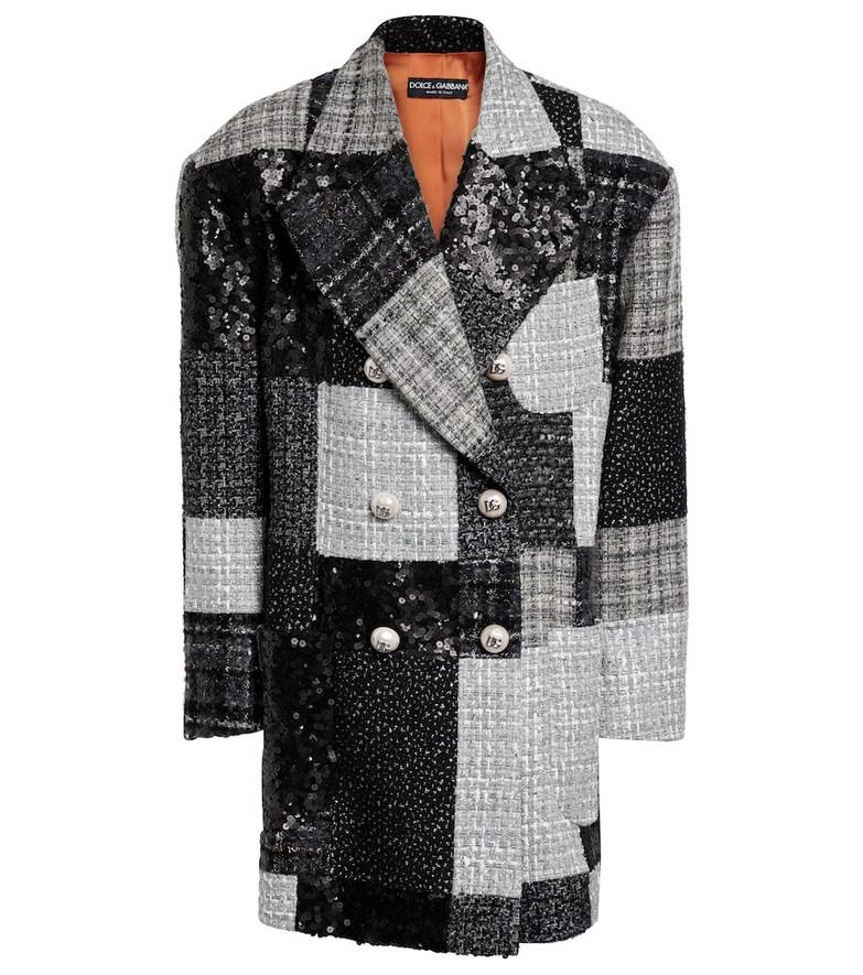 Dolce & Gabbana Patchwork tweed blazer in grey
