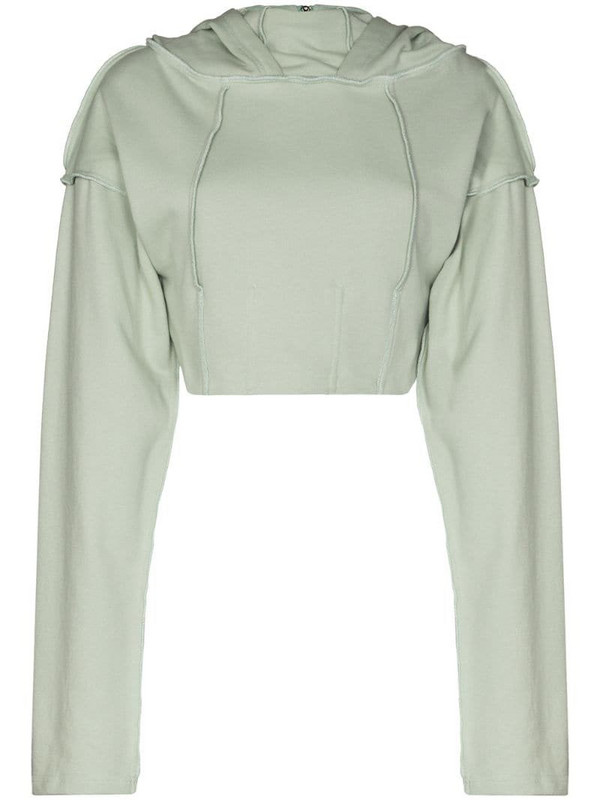 Danielle Guizio cropped fitted-style hoodie in green