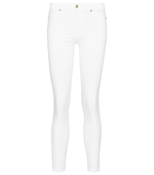7 For All Mankind Slim Illusion high-rise cropped skinny jeans in white