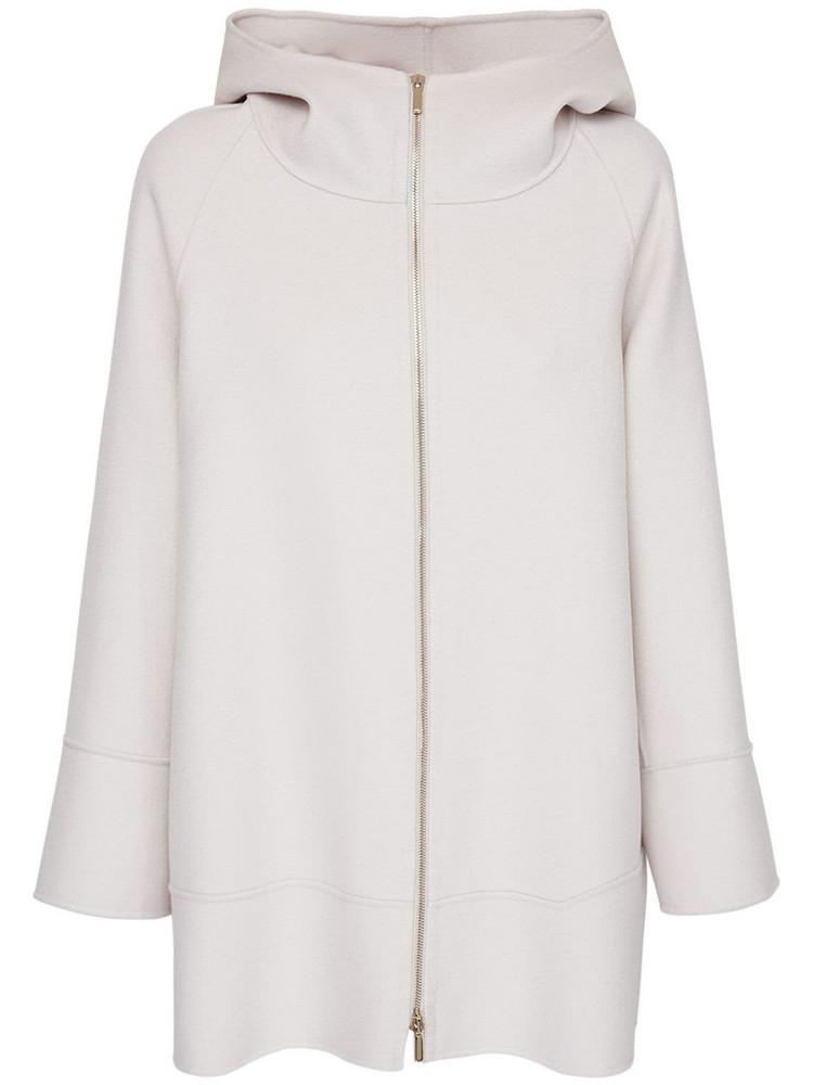 MAX MARA 'S Hooded Wool Zip-up Jacket in ivory