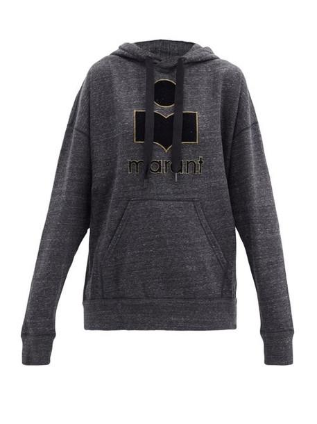 Isabel Marant Étoile - Mansel Logo Hooded Cotton-blend Sweatshirt - Womens - Dark Grey
