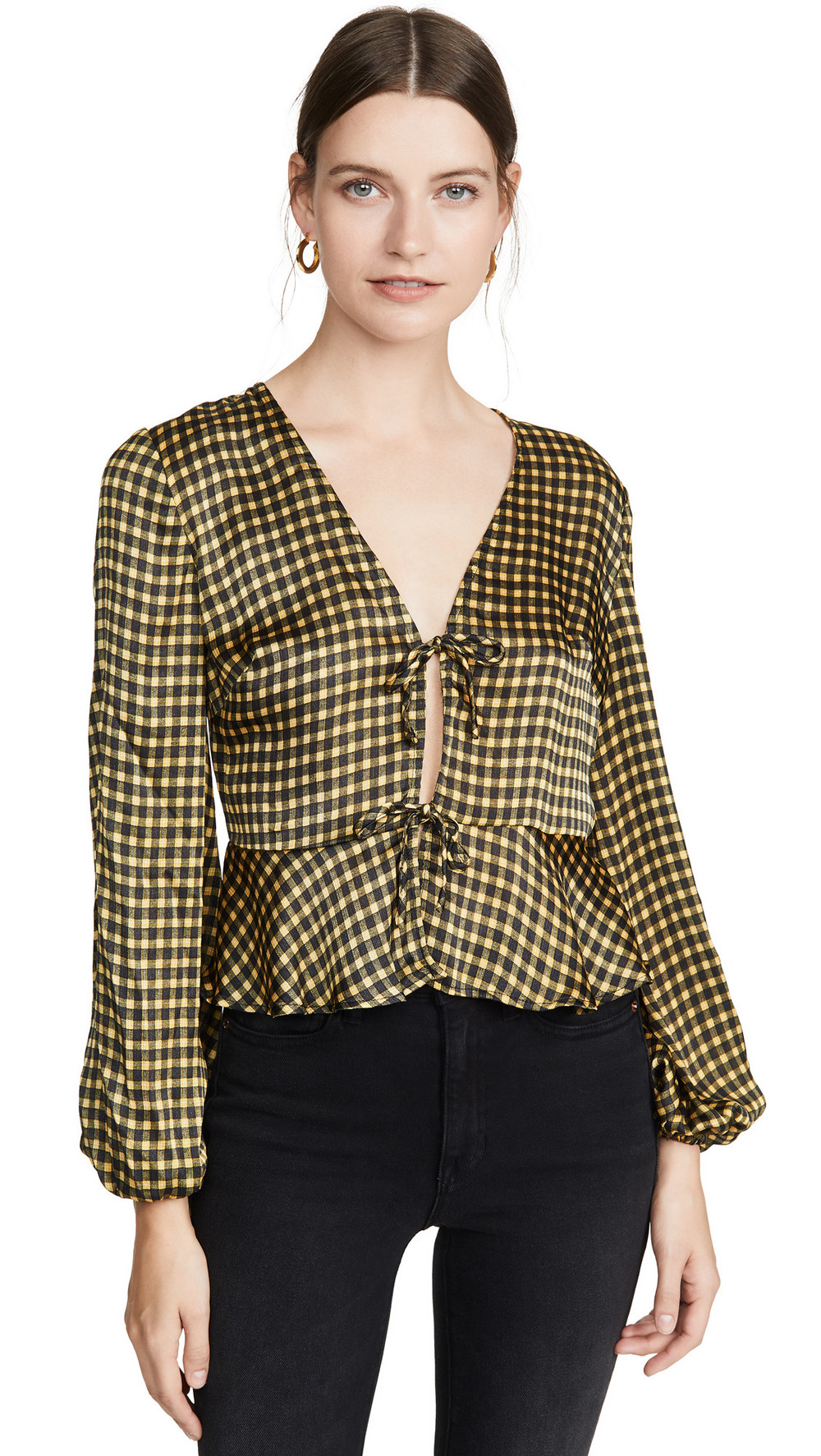 The Fifth Label Goldie Check Top in black / yellow