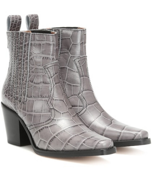 Ganni Western leather ankle boots in grey