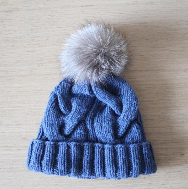 hat braided cable hat cashmere wool cashmere beanie denim blue blue beanie grey & blue beanie hat fur bobble hat fox fur pom pom