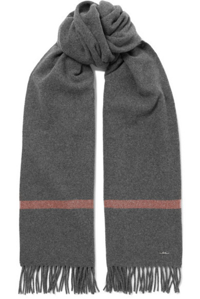 Loro Piana - Twelve Fringed Striped Cashmere Scarf - Dark gray