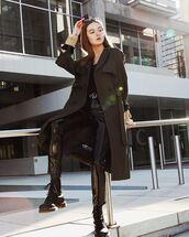 trench coat,black trench,coat