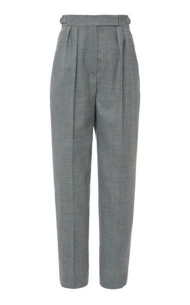 Max Mara Supremo Wool-Blend Cropped Slim Pants Size: 2 in black