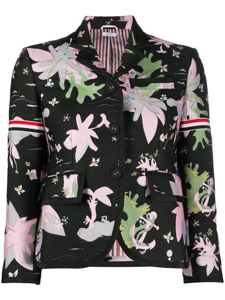 Thom Browne Hawaiian-print 3/4 sleeves blazer in black