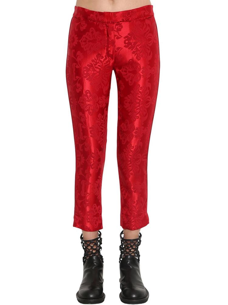 ANN DEMEULEMEESTER Straight Leg Satin Jacquard Pants in red