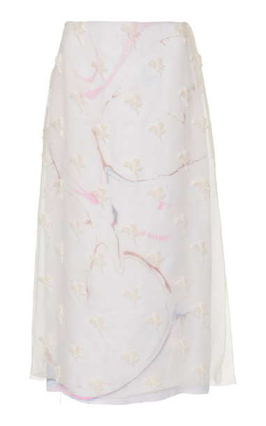 Marina Moscone Embroidered Silk-Blend Chiffon Midi Skirt in white
