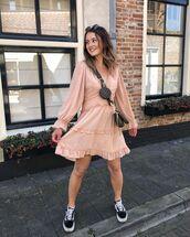 dress,mini dress,ruffle dress,long sleeve dress,black sneakers,vans,crossbody bag