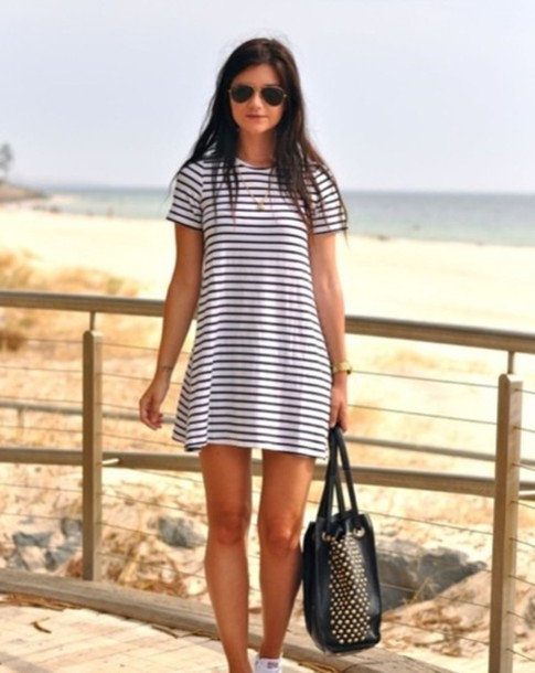 dress white striped dress navy white dress long dress summer dress stripes casual shoes converse black blakc and white