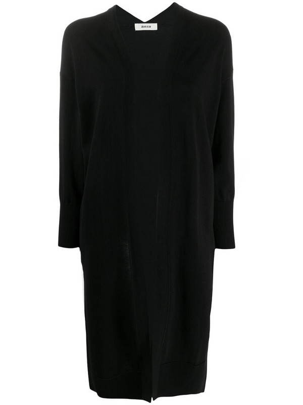 Zucca open-front cotton cardi-coat in black