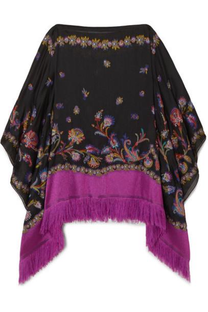 Etro - Fringed Silk-blend Jacquard Poncho - Black