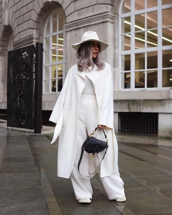 coat white coat wide-leg pants white pants sneakers white top hat dior bag