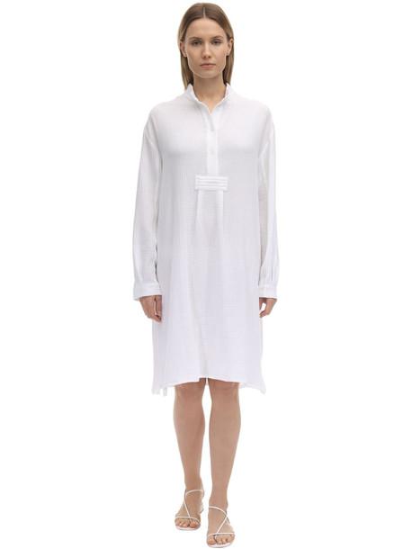 THE SLEEP SHIRT Long Cotton Gauze Pajama Shirt in white