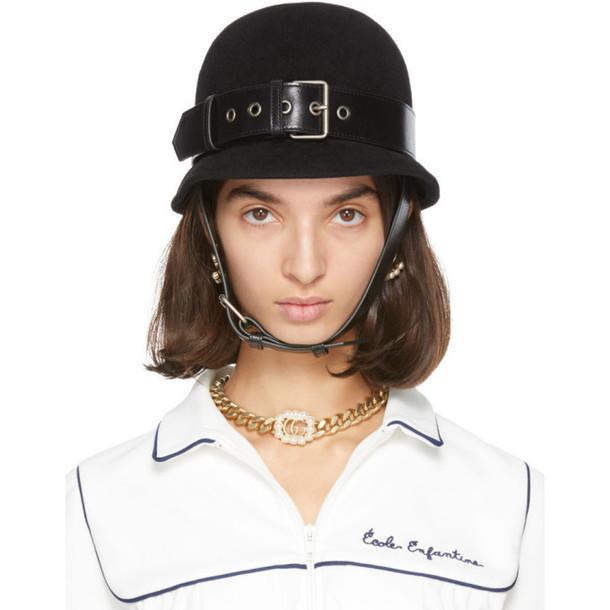 Gucci Black Belted Fedora