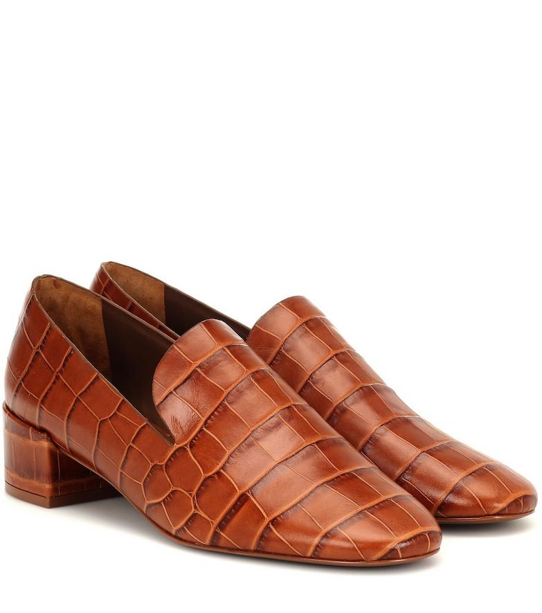 Mercedes Castillo Tillie croc-effect leather pumps in brown