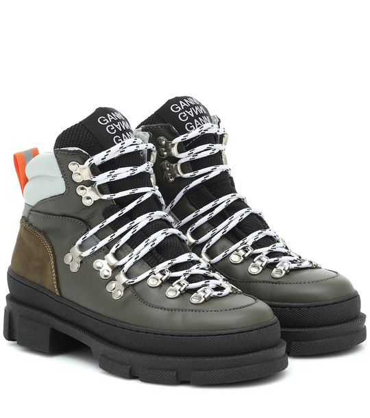 Ganni Sporty Hiking leather ankle boots in green