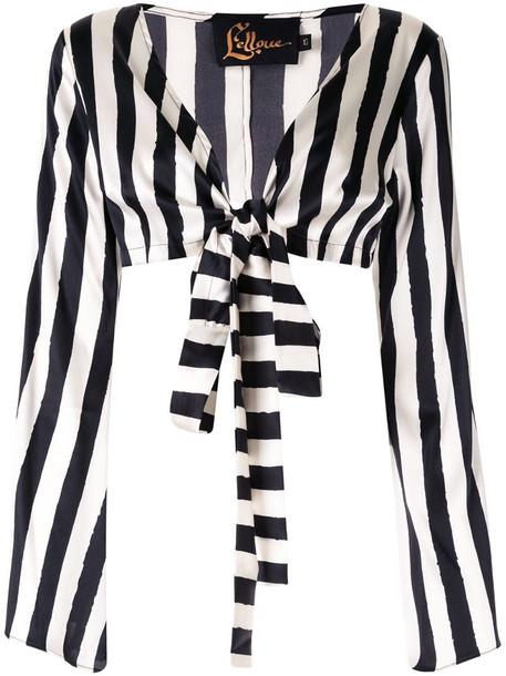 LELLOUE striped wrap top in black