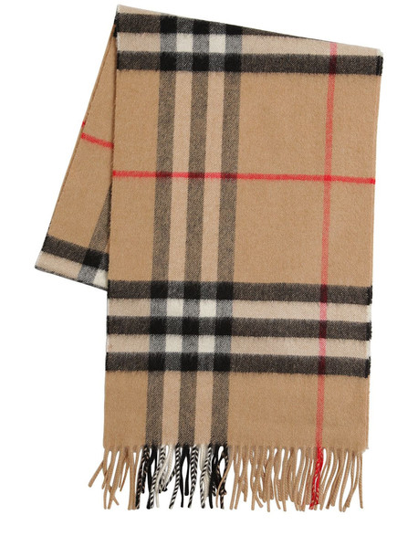 BURBERRY Classic Check Giant Icon Wool Scarf in beige