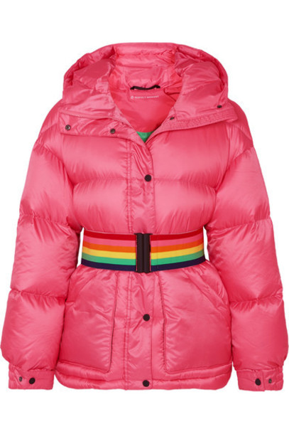 Perfect Moment - Belted Hooded Quilted Down Ski Jacket - Pink