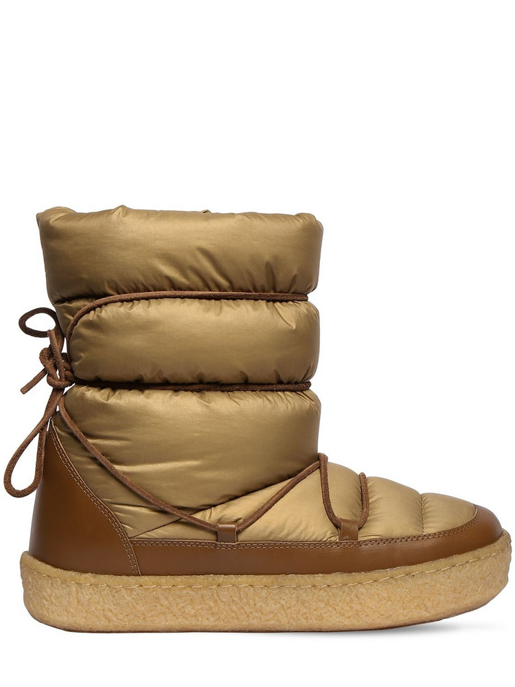 ISABEL MARANT 20mm Zimlee Nylon & Leather Snow Boots in khaki
