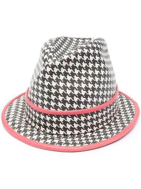 Christian Dior pre-owned houndstooth print fedora hat in black