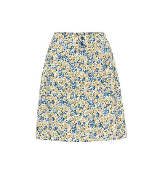 A.P.C. Christa floral crêpe de chine skirt in blue