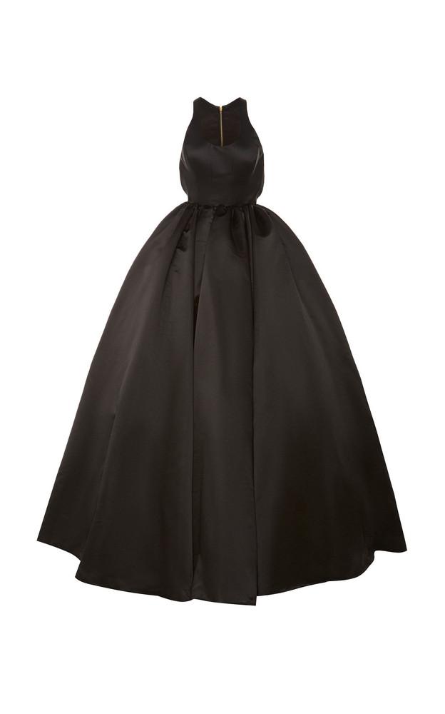 Brandon Maxwell Zip-Detailed Satin Full Gown in black