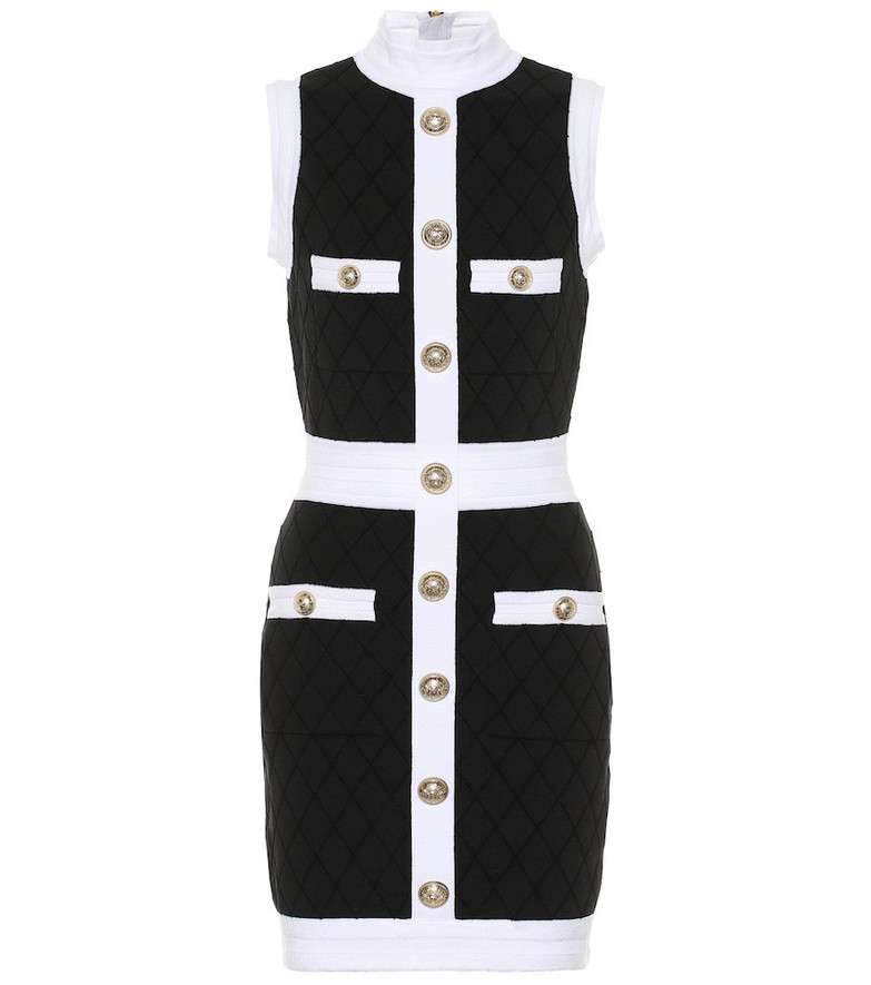 Balmain Bouclé cotton-blend dress in black