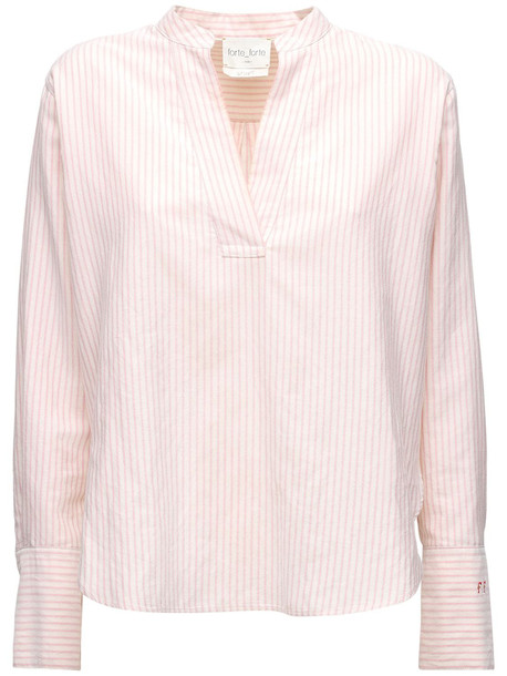FORTE FORTE Striped Cotton Blend Poplin Shirt in pink