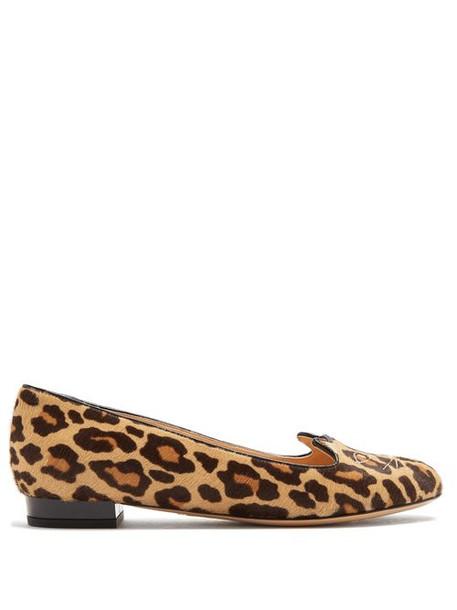 Charlotte Olympia - Kitty Leopard Print Calf Hair Flats - Womens - Brown Multi