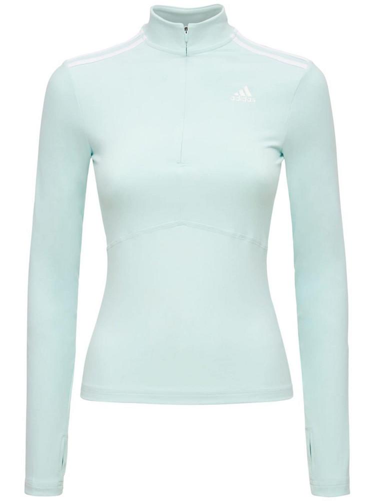 ADIDAS PERFORMANCE Long Sleeve Zip-up Sweatshirt in blue