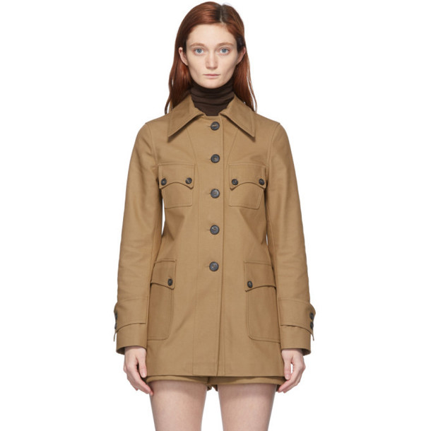 Victoria Beckham Tan Fitted Saharan Jacket in camel