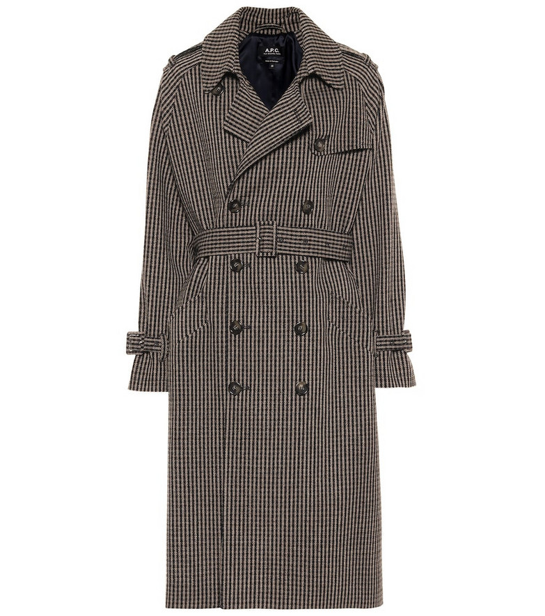 A.P.C. Greta checked wool-blend trench coat in black