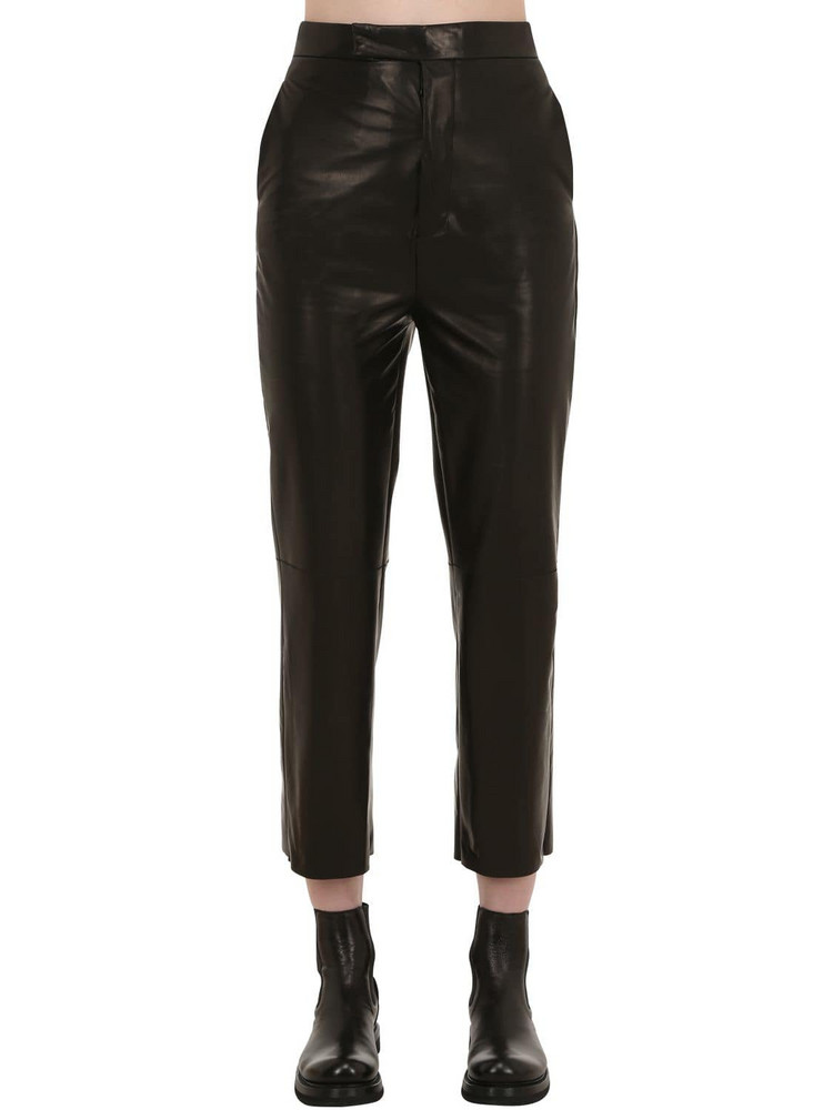 RICK OWENS HUN Cropped Leather Pants in black