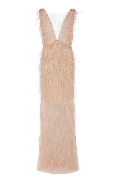 Marchesa Embroidered Tulle Overlay Dress Size: 2 in pink