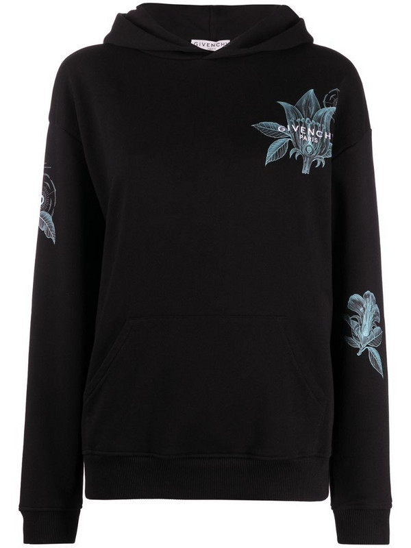 Givenchy Floral Schematics-print hoodie in black