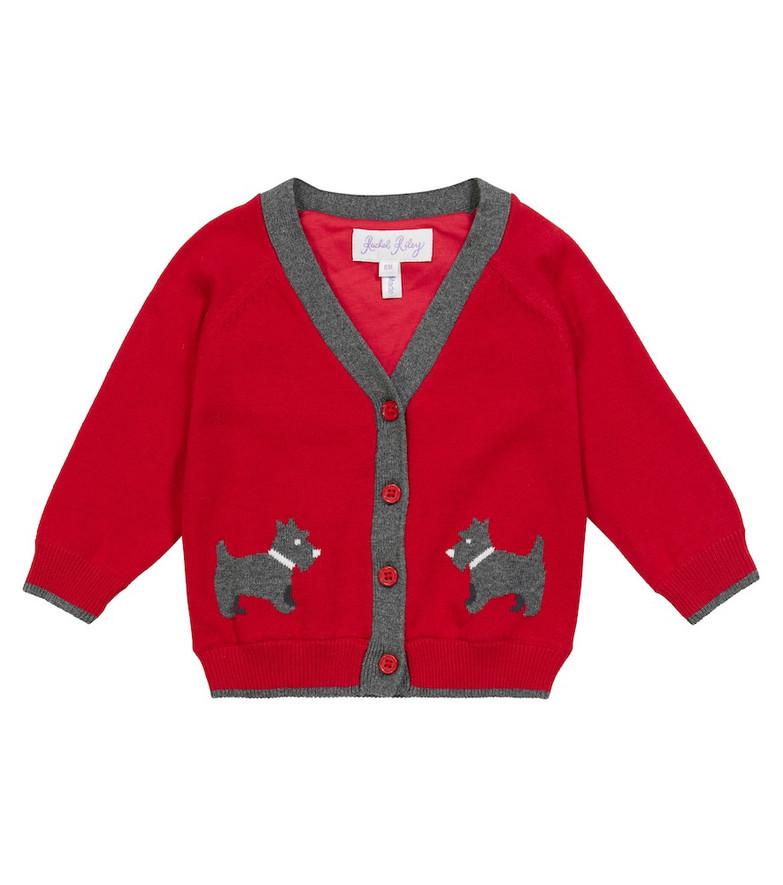 Rachel Riley Baby Scottie Dog intarsia-knit cardigan in red