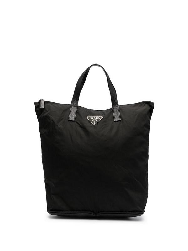 Prada Pre-Owned 1990s triangle logo shopping bag in black