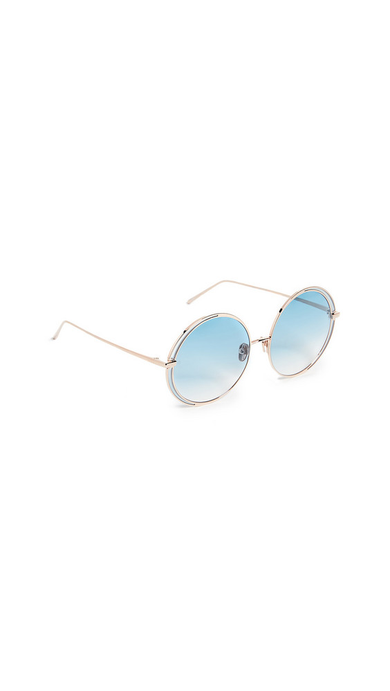 Linda Farrow Luxe Round Oversized Sunglasses in blue / gold / rose